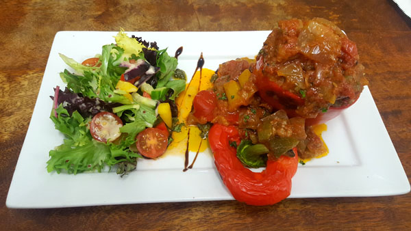 Roasted Stuffed pepper with mediterranean Vegetables and couscous